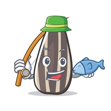 Fishing sunflower seed mascot cartoon vector illustration Illustration