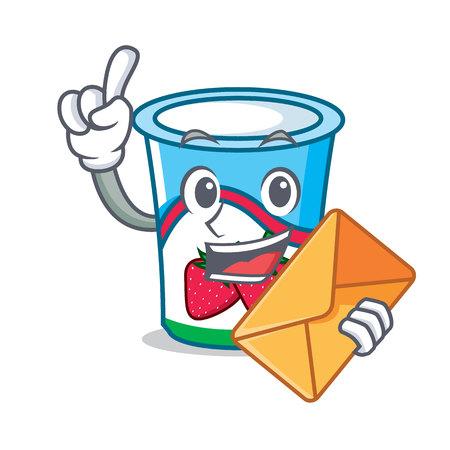 Yogurt character with envelope cartoon style vector illustration