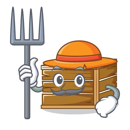 Farmer crate character cartoon style vector illustration