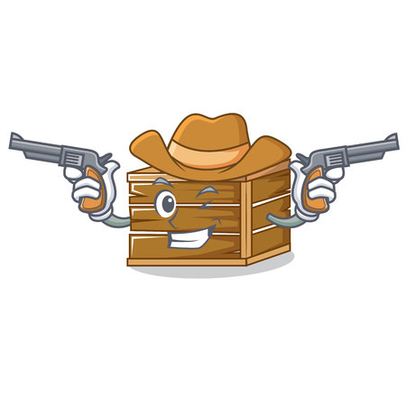 Cowboy crate character cartoon style Illustration