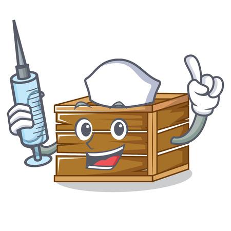 Nurse crate character cartoon style vector illustration