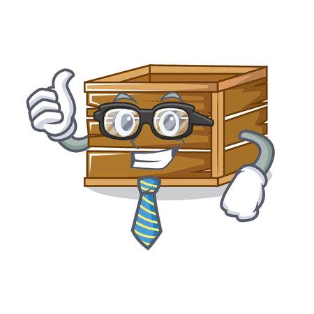 Businessman crate character cartoon style vector illustration Illustration