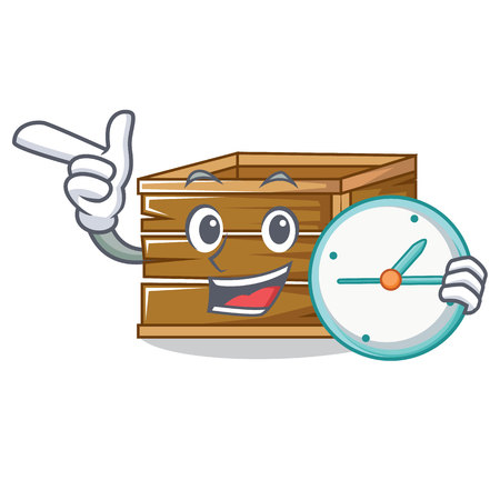 With clock crate character cartoon style vector illustration Illustration