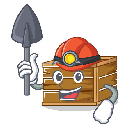 Miner crate mascot cartoon style vector illustration Illustration