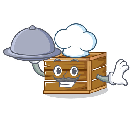Chef with food crate mascot cartoon style vector illustration