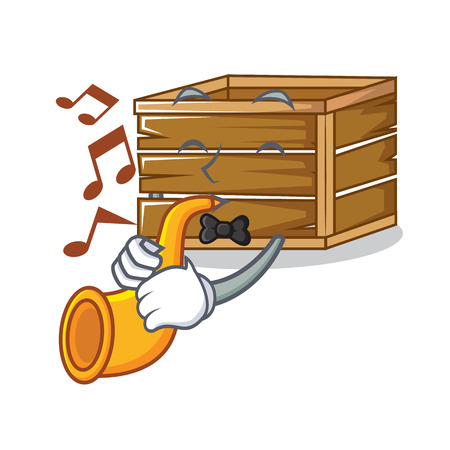 With trumpet crate mascot cartoon style vector illustration