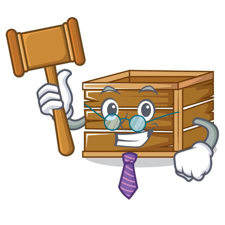 Judge crate mascot cartoon style Illustration