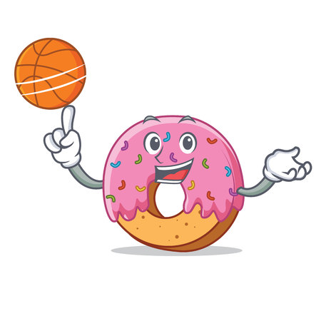 Donut with basketball character cartoon style vector illustration