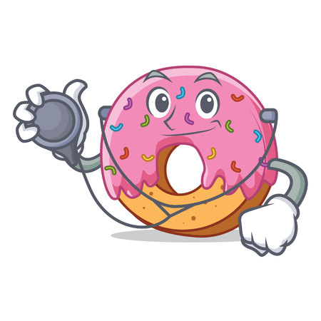 Doctor Donut character cartoon style vector illustration
