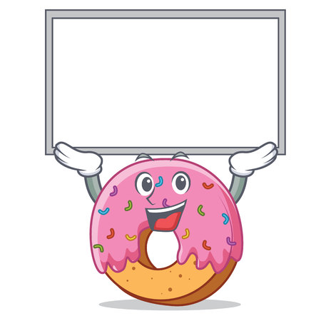 Up board Donut character cartoon style