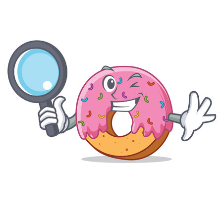 Detective Donut character cartoon style vector illustration Illustration