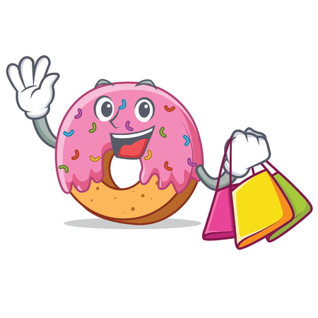 Shopping Donut character cartoon style vector illustration