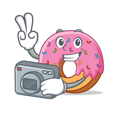 Photographer Donut mascot cartoon style