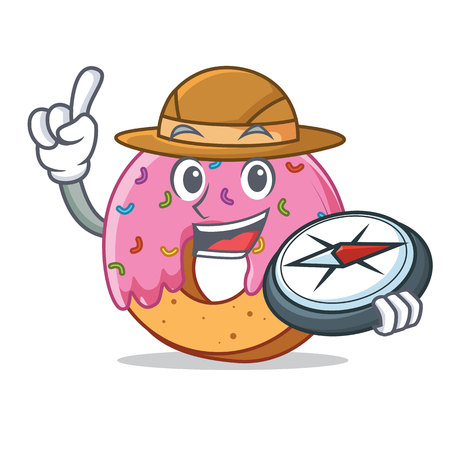 Explorer Donut mascot cartoon style Illustration