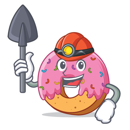 Miner Donut mascot cartoon style