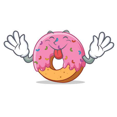 Tongue out Donut mascot cartoon style