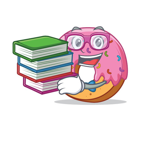 Student with book Donut mascot cartoon style
