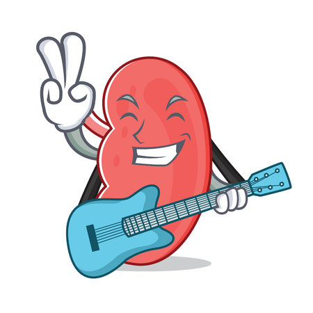 With guitar kidney mascot cartoon style