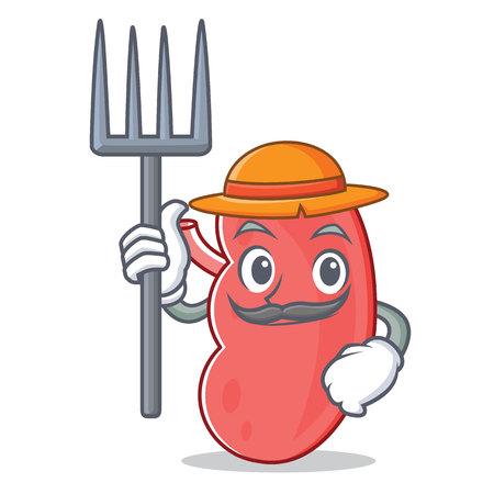 Farmer kidney character cartoon style vector illustration.