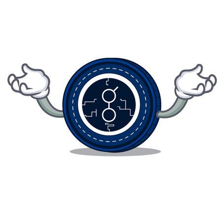 Hand up golem coin character cartoon