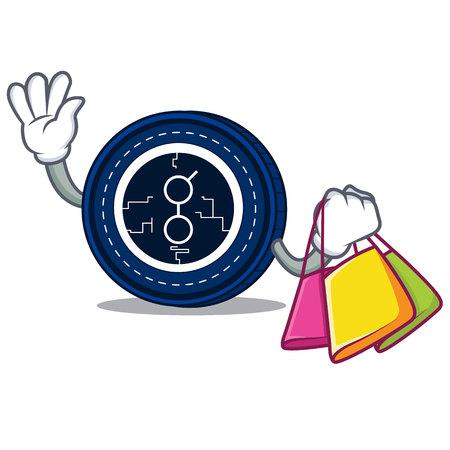 Shopping golem coin character cartoon vector illustration.