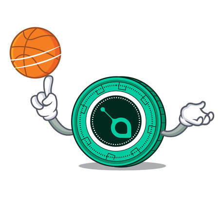 With basketball SiaCoin character cartoon style