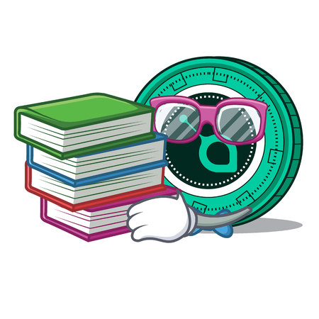 Student with book SiaCoin mascot cartoon style vector illustration Illustration
