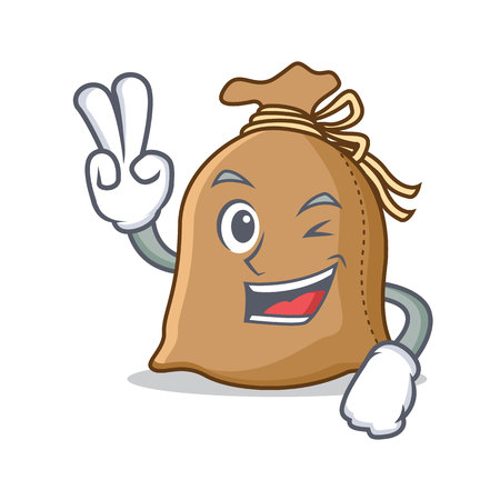 Two finger sack character cartoon style Vectores