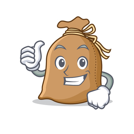 Thumbs up sack character cartoon style illustration.