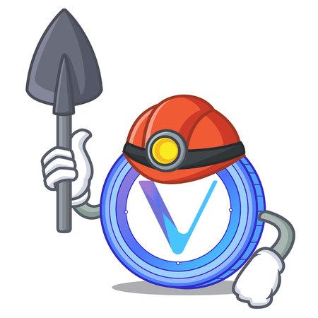 Miner VeChain coin mascot cartoon Illustration