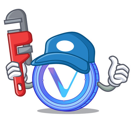 Plumber VeChain coin mascot cartoon