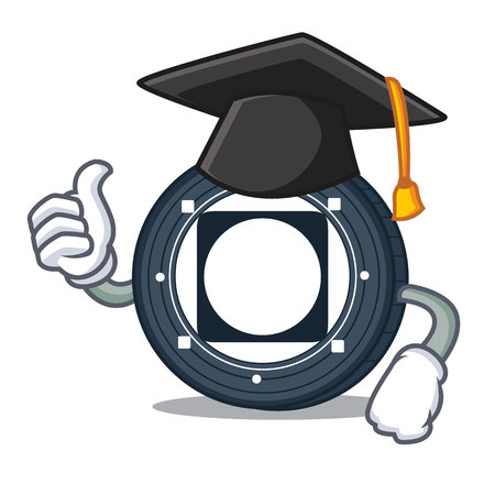 Graduation Byteball Bytes coin character cartoon vector illustration