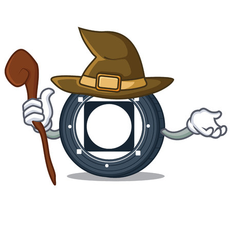 Witch Byteball Bytes coin mascot cartoon vector illustration