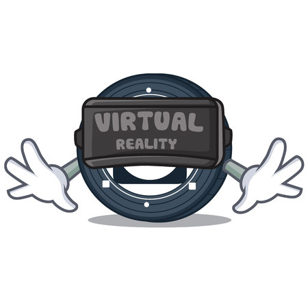 With virtual reality Byteball Bytes coin mascot cartoon vector illustration