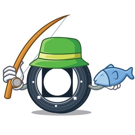 Fishing Byteball Bytes coin mascot cartoon