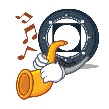 With trumpet Byteball Bytes coin mascot cartoon vector illustration