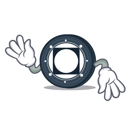 Crazy Byteball Bytes coin mascot cartoon vector illustration