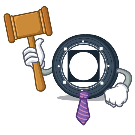 Judge Byteball Bytes coin mascot cartoon vector illustration