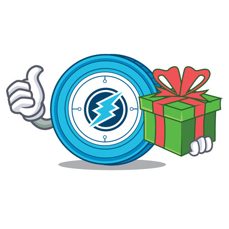 Electroneum coin mascot cartoon With gift