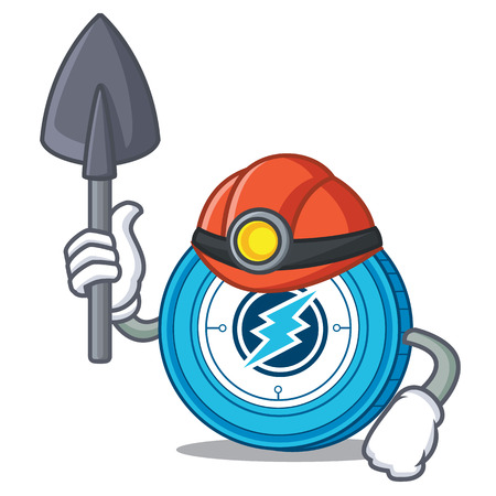 Miner Electroneum coin mascot cartoon