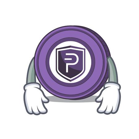 Tired Pivx coin mascot cartoon vector illustration