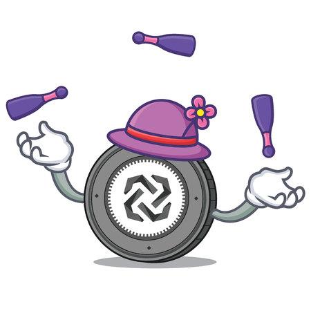 Juggling Bytom coin mascot cartoon illustration
