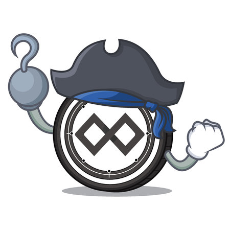 Pirate Tenx coin character cartoon Illustration
