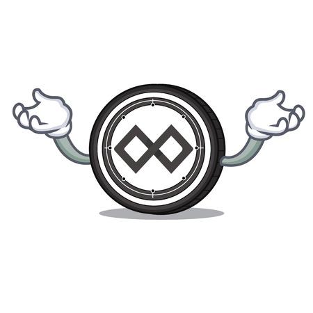 Hand up Tenx coin character cartoon Illustration