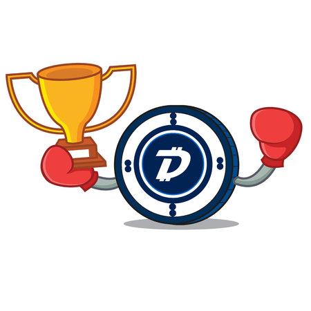 Boxing winner Digibyte coin mascot cartoon vector illustration Illustration