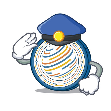 Police factom coin character cartoon vector illustration