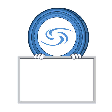 With board Syscoin character cartoon style Illustration