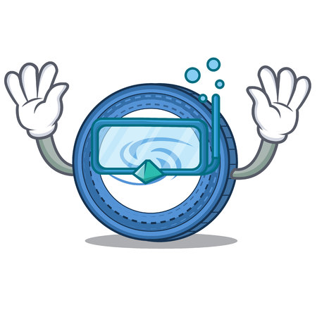 Diving Syscoin character cartoon style vector illustration