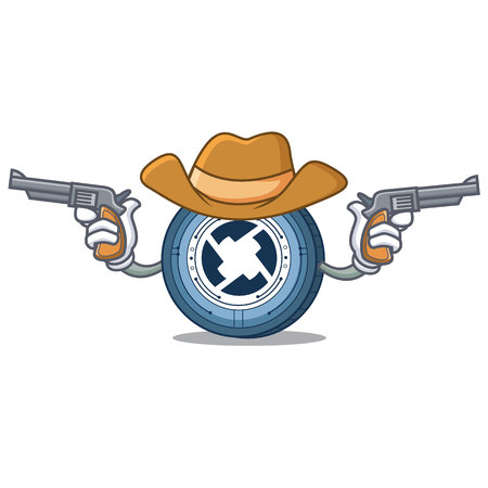 Cowboy 0X coin character cartoon vector illustration Illustration