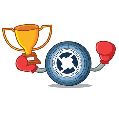 Boxing winner 0X coin mascot cartoon
